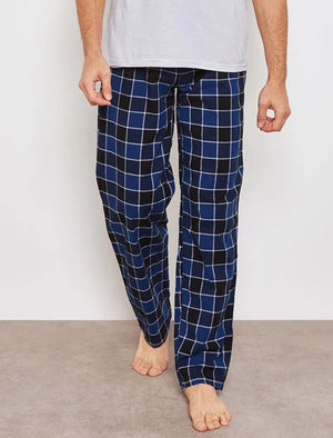 Jords Brushed Flannel Checked Lounge Pants in Medieval Blue - Tokyo Laundry