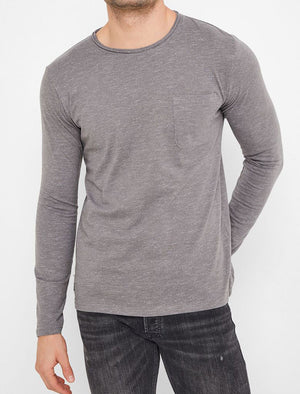 Jack Slub Cotton Jersey Long Sleeve Top with Chest Pocket In Castlerock - Tokyo Laundry