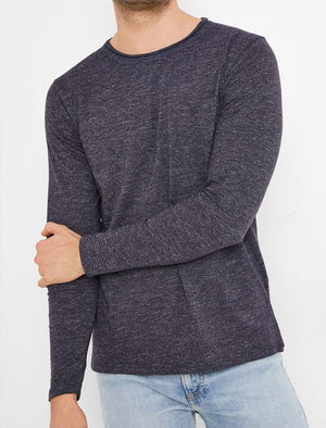 Jack Slub Cotton Jersey Long Sleeve Top with Chest Pocket In Navy - Tokyo Laundry