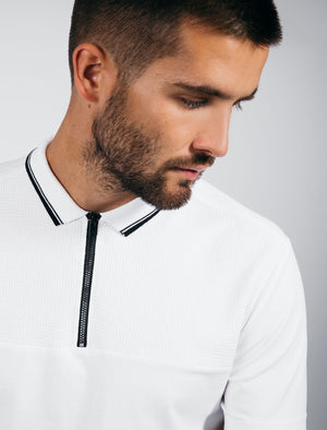 Lyon Zip Neck Cotton Jersey Polo Shirt in Optic White - Dissident