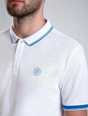 Kenji Cotton Pique Polo Shirt With Tipping in Optic White – Dissident