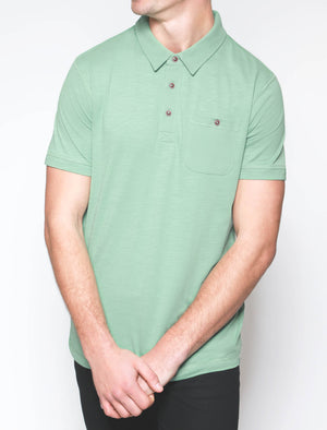 Pale Cotton Slub Polo Shirt with Chest Pocket in Feldspar Green – South Shore