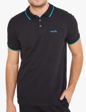 Noel Cotton Pique Polo Shirt with Neon Tipping In Jet Black - Tokyo Laundry