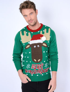 Merry Xmoose Novelty Christmas Jumper in Christmas Green – Season's Greetings