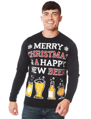 Happy New Beer Novelty Christmas Jumper in Ink – Merry Christmas