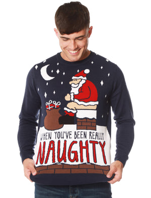 Really Naughty Motif Novelty Christmas Jumper in Eclipse Blue – Merry Christmas