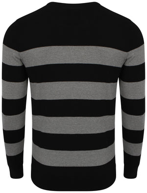 Le Shark V-neck contrast stripe jumper in balck