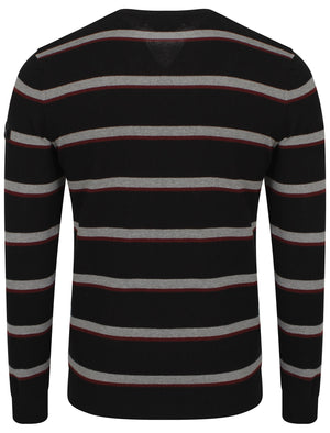 Dissident V-neck stripe jumper with t-shirt insert in black