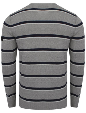 Dissident V-neck stripe jumper with t-shirt insert in grey