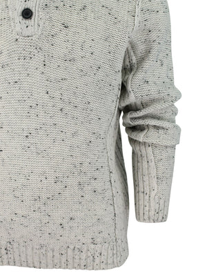Octagon Double Neck Knitted Jumper In Stone - Dissident