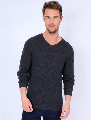 Hawes V Neck Lambswool Rich Knitted Jumper in Charcoal – Tokyo Laundry