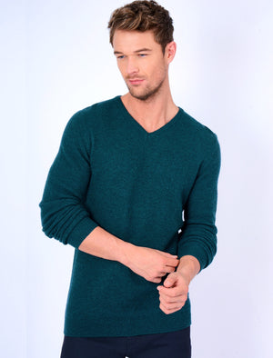 Hawes V Neck Lambswool Rich Knitted Jumper in Teal – Tokyo Laundry