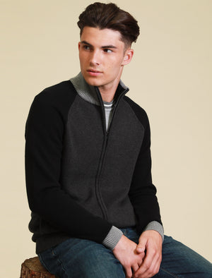Venables Colour Block Raglan Sleeve Zip Up Cardigan in Charcoal Marl – Tokyo Laundry