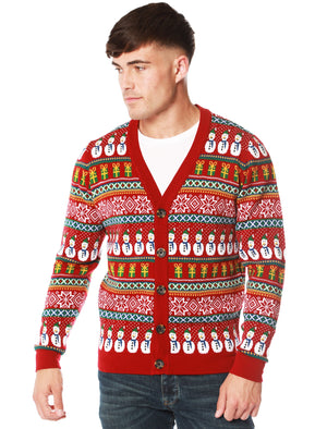 Snowman Cardi Wallpaper Print Novelty Christmas Cardigan in Red – Merry Christmas
