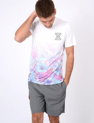 Riser Tropical Print Crew Neck T-Shirt In Optic White - Tokyo Laundry
