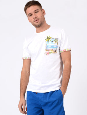 Raft Cotton Slub T-Shirt with Printed Pocket In Optic White - Tokyo Laundry