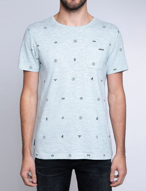 Mikio Symbol Print Cotton Slub T-Shirt with Chest Pocket In Skyway – Dissident