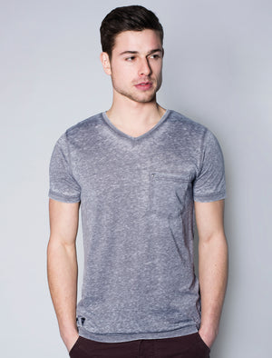Burn2 Burnout V Neck T-Shirt in Indigo - Dissident