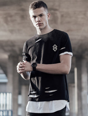 St Alpha Layered Longline T-Shirt with Rips in Jet Black – Saint & Sinner