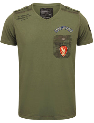 Mooler V Neck T-Shirt with Military Badges in Amazon Khaki – Dissident
