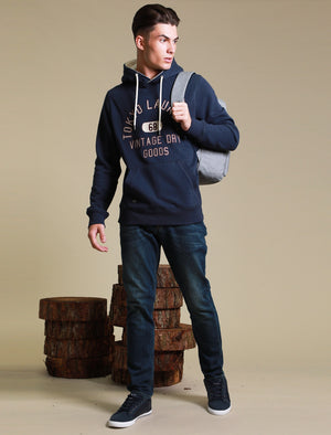 Harrisville Applique Pullover Hoodie with Borg Lined Hood In Mood Indigo – Tokyo Laundry