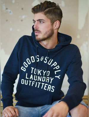Franklin Valley Cowl Neck Pullover Hoodie in Dark Navy - Tokyo Laundry