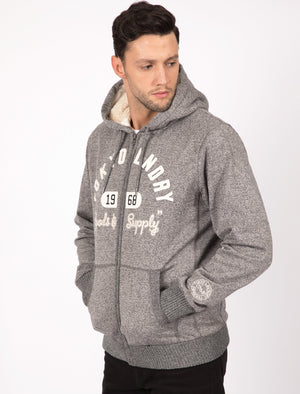 Holbrook Applique Borg Lined Zip Through Hoodie In Black - Tokyo Laundry