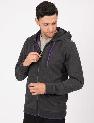 Hanover Zip Through Hoodie In Charcoal Marl / Purple – Tokyo Laundry