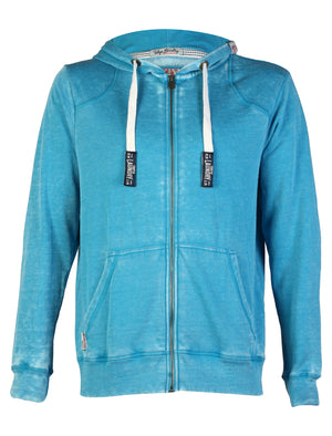 Tokyo Laundry George blue burn out zip up hoodie