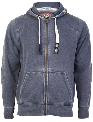 Tokyo Laundry George navy burn out zip up hoodie