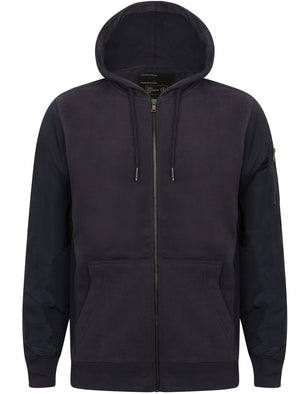 Devo Zip Through Hoodie with Contrast Sleeves in Navy – Dissident