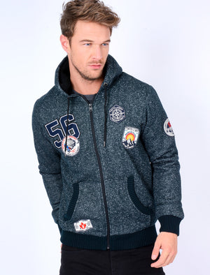 Fiftysixer Borg Lined Hoodie with Badges in Dress Blue Fleck – Tokyo Laundry
