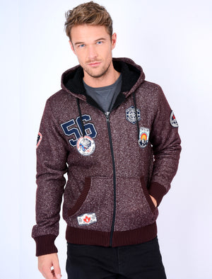 Fiftysixer Borg Lined Hoodie with Badges in Mulled Wine Fleck – Tokyo Laundry