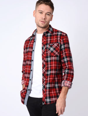 Dieppe Cotton Flannel Checked Shirt In Red Dahlia - Tokyo Laundry