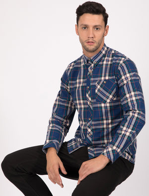 Milan Checked Cotton Long Sleeve Shirt In Estate Blue - Tokyo Laundry