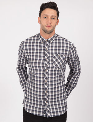 Bridlington Checked Cotton Long Sleeve Shirt In Dark Denim - Tokyo Laundry