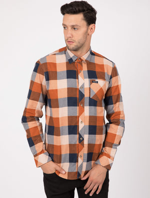 Stratford Checked Cotton Flannel Shirt In Burnt Orange – Tokyo Laundry