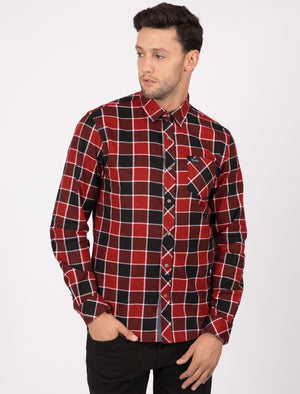 Hulverston Checked Cotton Flannel Shirt In Rio Red - Tokyo Laundry