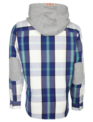 Redfield checked hooded shirt in blue - Tokyo Laundry