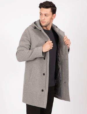 Romano Wool Blend Coat with Hood In Grey - Tokyo Laundry