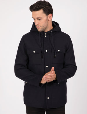 Giordiano Hooded Wool Blend Coat with Pockets In Navy – Tokyo Laundry