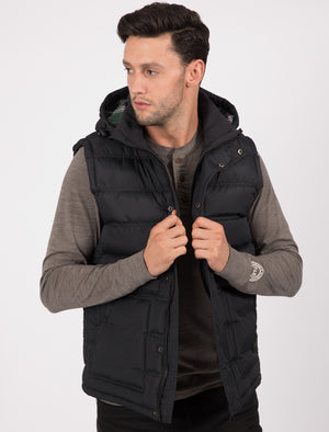 Redshift Quilted Puffer Gilet with Checked Lined Hood in Black - Tokyo Laundry