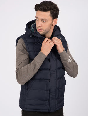 Redshift Quilted Puffer Gilet with Checked Lined Hood in True Navy – Tokyo Laundry