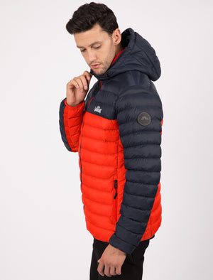 Aksel Colour Block Quilted Puffer Jacket with Hood In Red - Tokyo Laundry