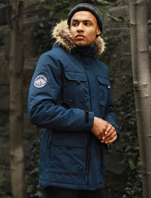 Hjalmar Utility Parka Coat with Fleece Lined Faux Fur Trim Hood in Navy – Tokyo Laundry