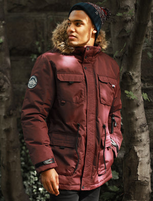 Hjalmar Utility Parka Coat with Fleece Lined Faux Fur Trim Hood in Vintage Wine – Tokyo Laundry