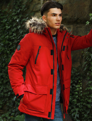 Nolte Utility Parka Coat with Borg Lined Faux Fur Trim Hood in Biking Red – Tokyo Laundry