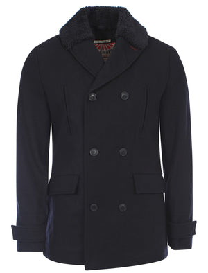 Tokyo Laundry Curtmantle navy blue wool rich pea coat