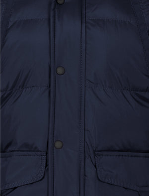 Padded detachable hooded coat in navy - Dissident