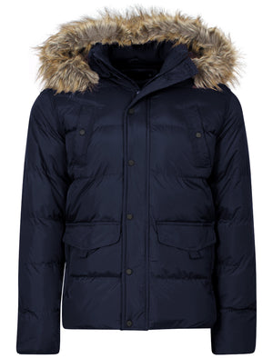 Dissident Wetherby navy padded detachable hooded coat
